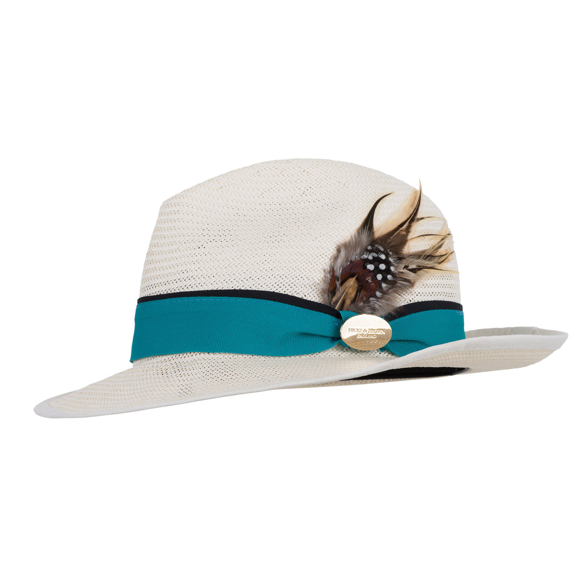 Hicks and Brown The Holkham LUXE Ladies Panama (Turquoise Ribbon)