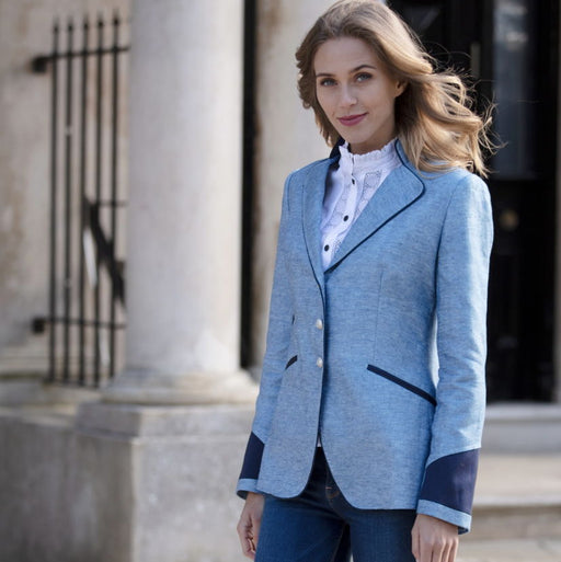 Welligogs 'Ascot' womens Jacket in blue linen - RedMillsStore.ie