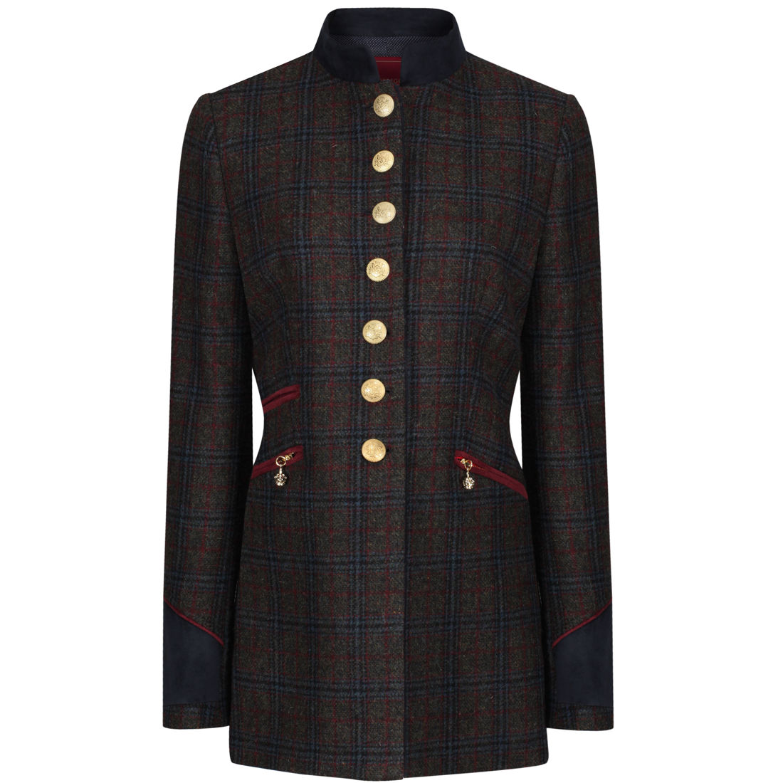 Welligogs Knightsbridge womens tailored jacket in navy & wine