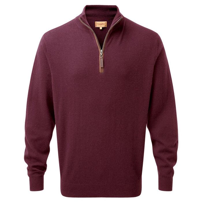 Schoffel Men's Merino/Cashmere 1/4 Zip Jumper in Damson
