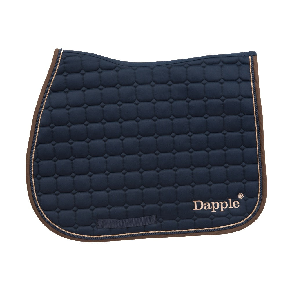 Dapple Saddle Pad Navy with Beige and Brown piping - RedMillsStore.ie