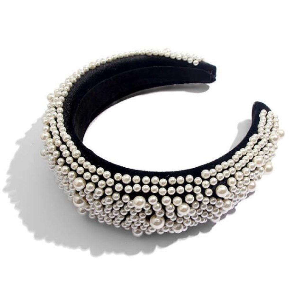'Niamh' Pearl embellished velvet headband in black - RedMillsStore.ie