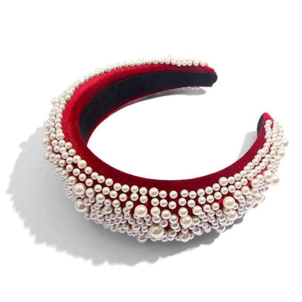 'Niamh' Pearl embellished velvet headband in red - RedMillsStore.ie