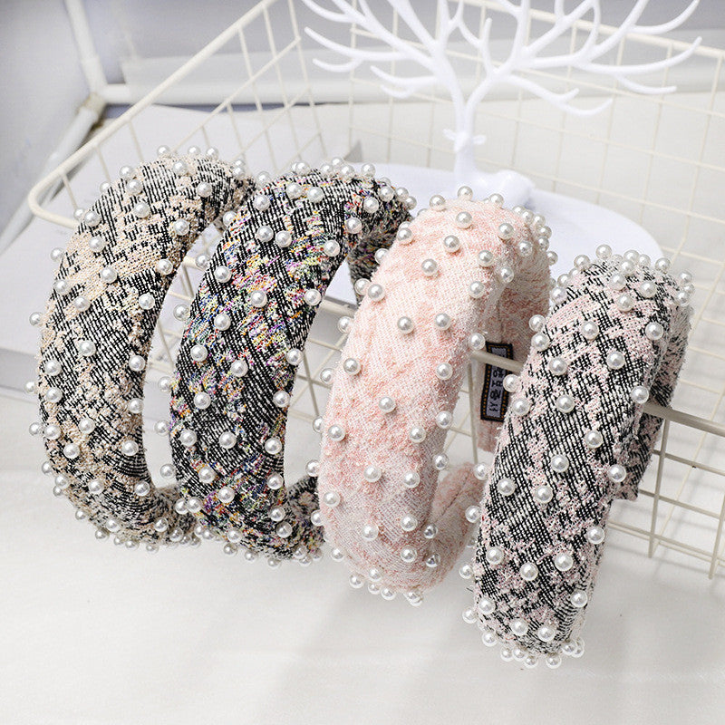 'Jessica' hairband with pearls in pink & grey boucle - RedMillsStore.ie