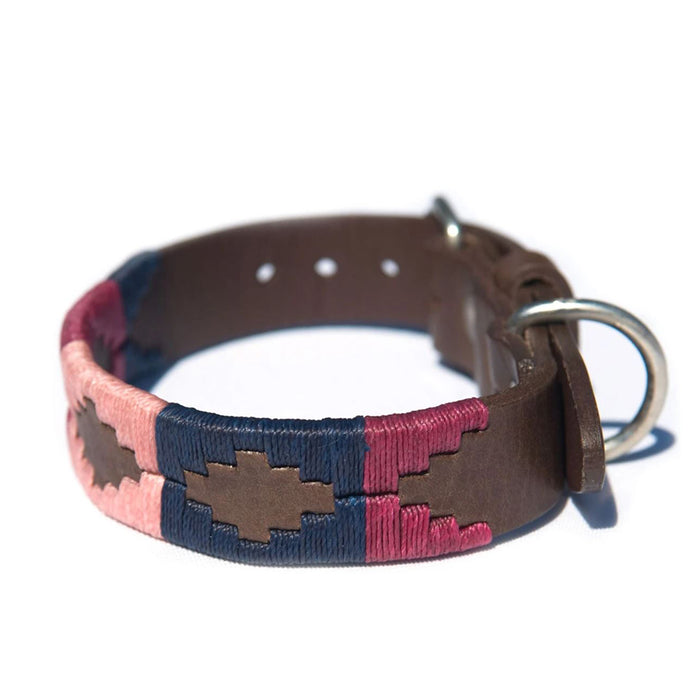Pioneros Leather Polo Dog Collar in Berry