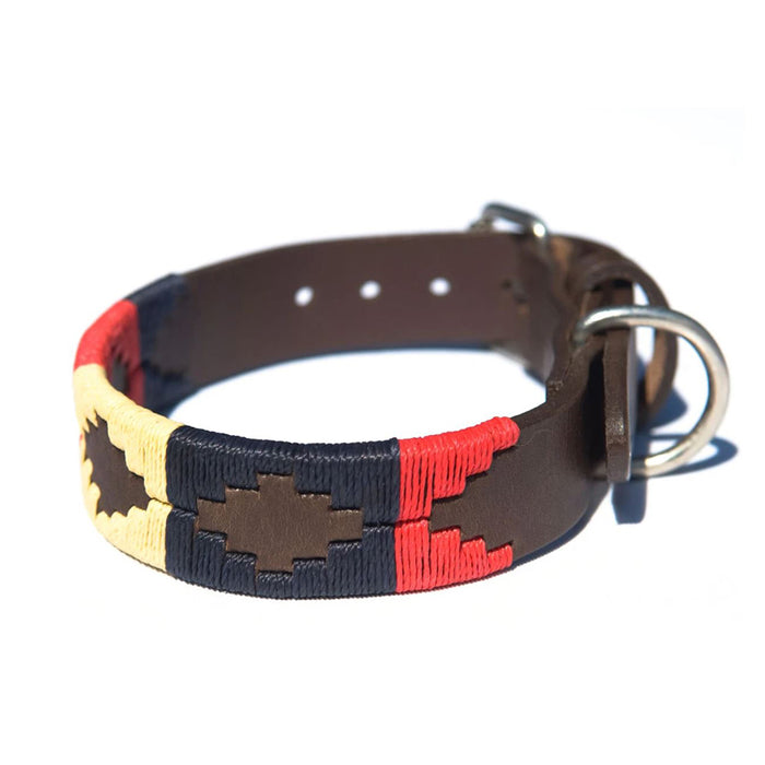 Pioneros Leather Polo Dog Collar in Navy & Orange