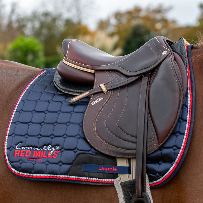 Red Mills & Dapple Saddle Pad in Navy with Red Piping