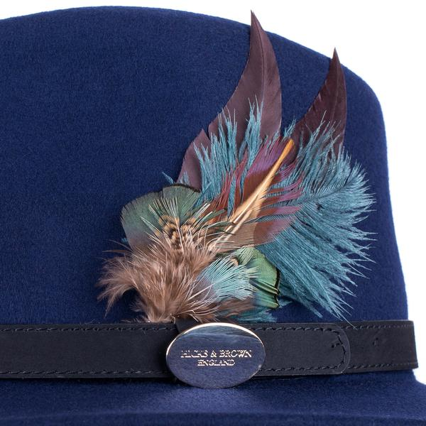 Hicks & Brown 'The Suffolk' Fedora in Navy (Classic Feather) - RedMillsStore.ie