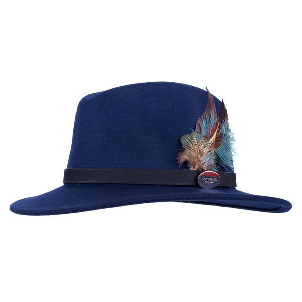 Hicks & Brown 'The Suffolk' Fedora in Navy (Classic Feather)