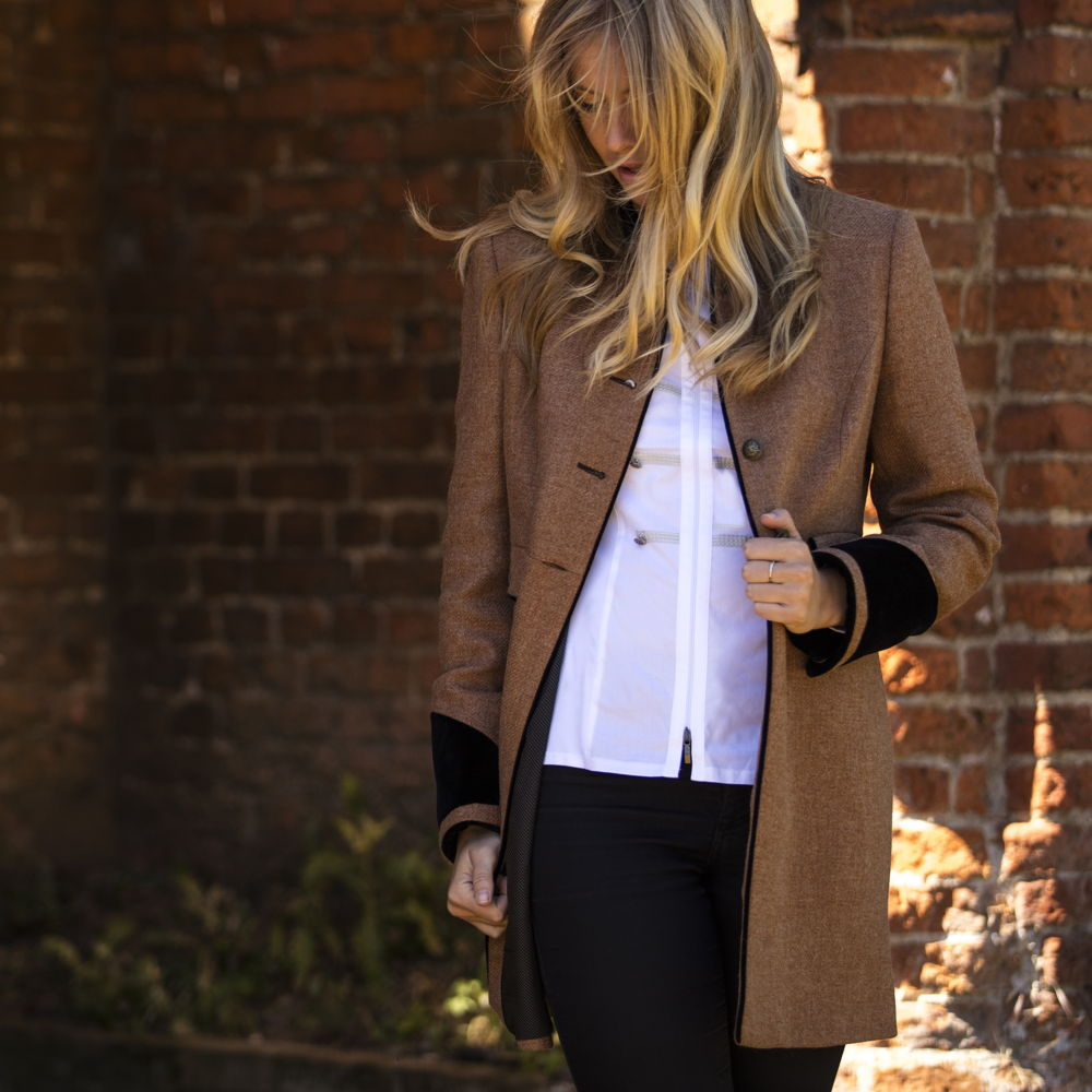 Welligogs Savannah Wool Tweed Coat in camel