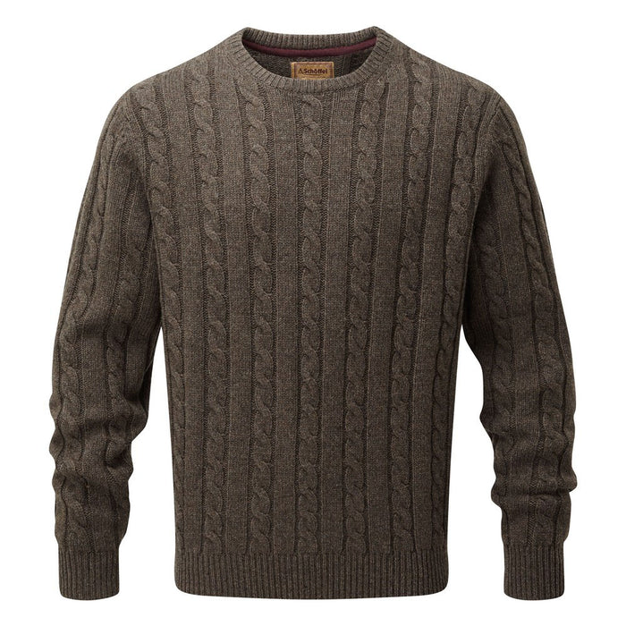 Schoffel Men's Lambswool Chunky Cable Crew Jumper Mocha