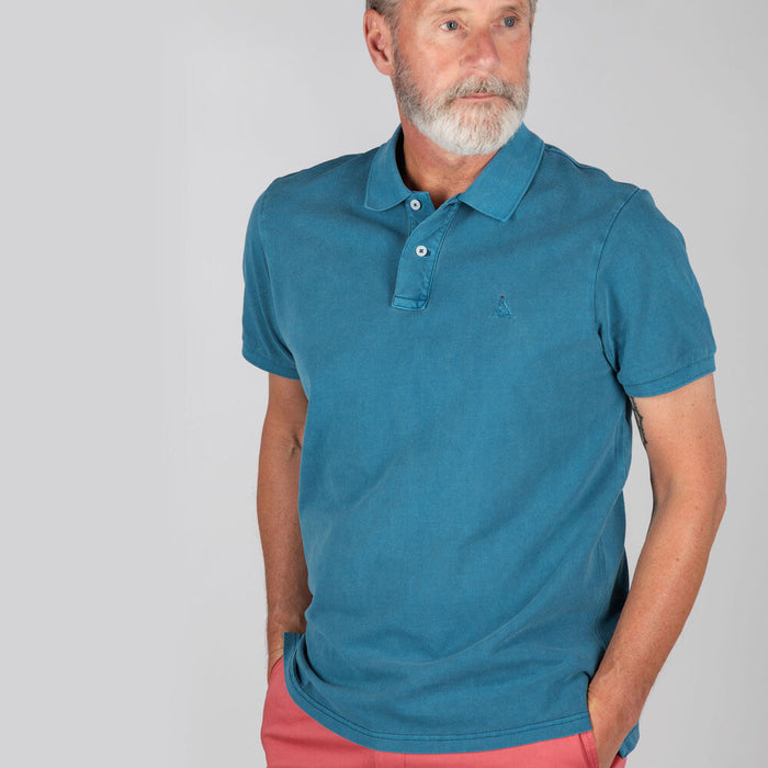 Schoffel Men's St Ives Classic Polo Shirt in Mykonos Blue
