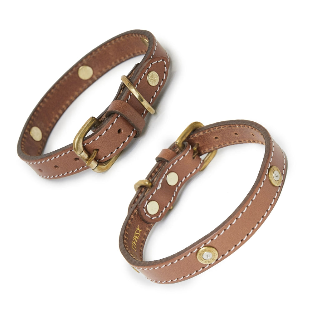 Hicks & Hide Stanton Multi Farmer Dog Collar Tan Leather