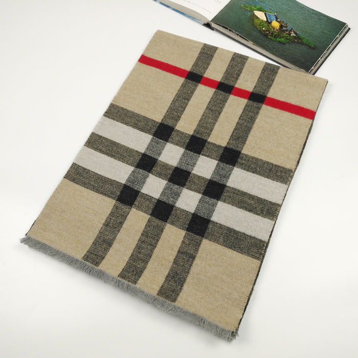 Classic check silk and wool blended scarf in camel - RedMillsStore.ie