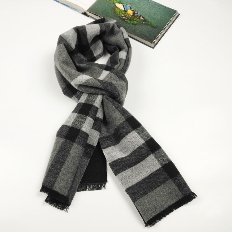 Classic check silk and wool blended scarf in grey