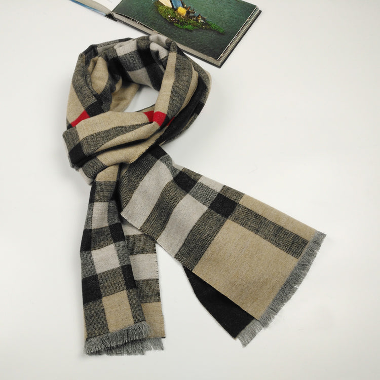 Classic check silk and wool blended scarf in camel
