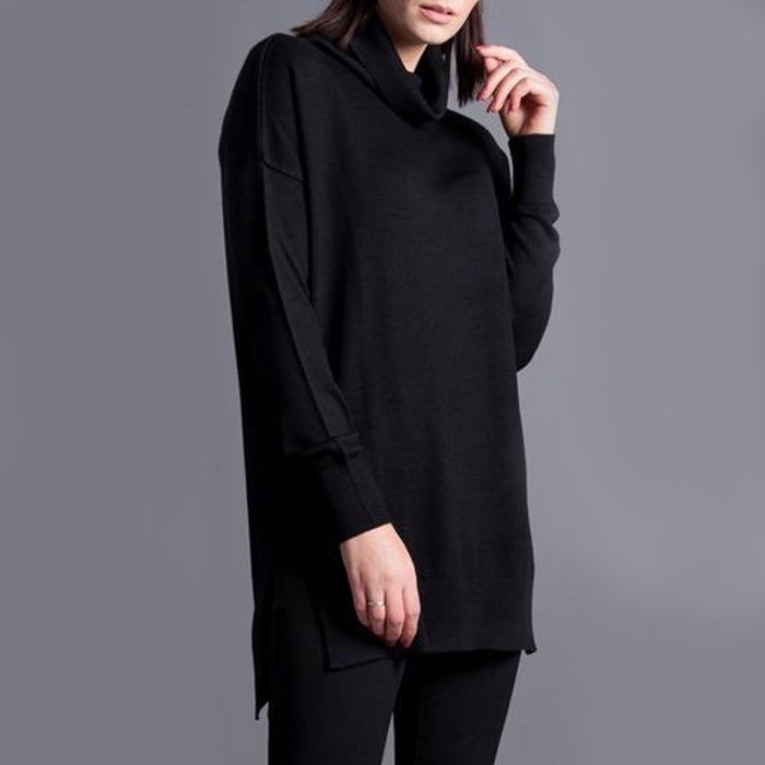 WG Women's Merino Wool Oversized Roll Neck Jumper in Black