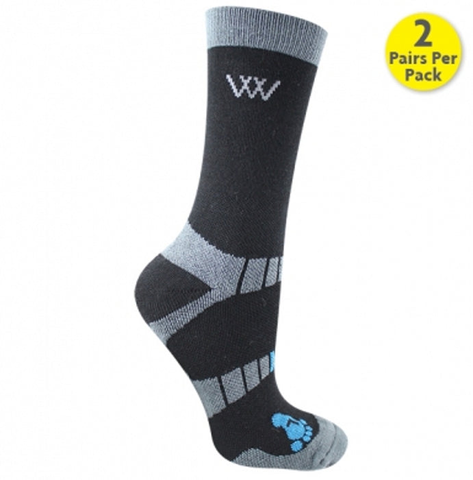 Woof Wear Waffle Knit Bamboo Short Riding Socks in Black
