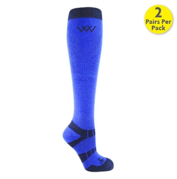 Woof Wear Waffle Knit Bamboo Long Riding Socks in Electric Blue
