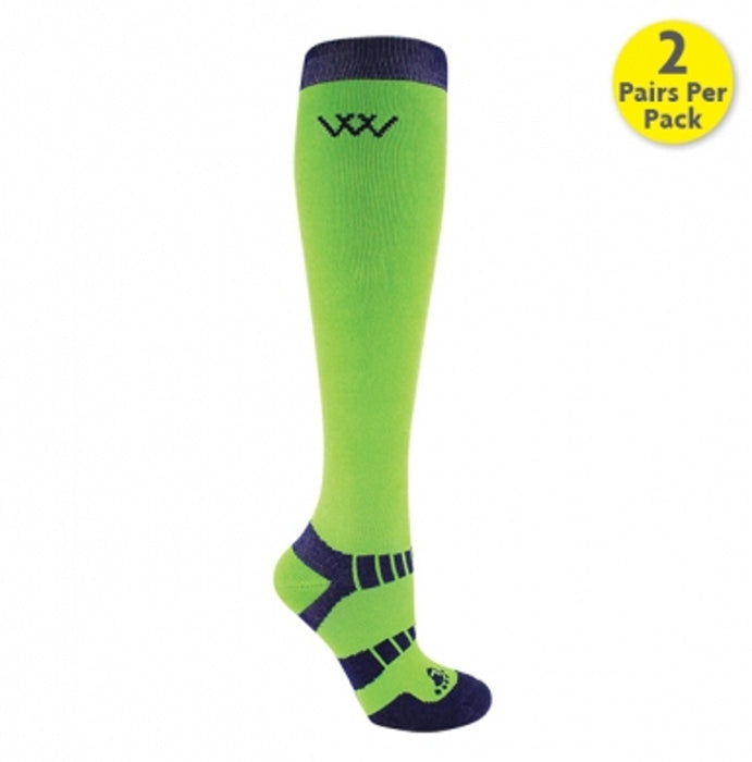Woof Wear Waffle Knit Bamboo Long Riding Socks in Lime