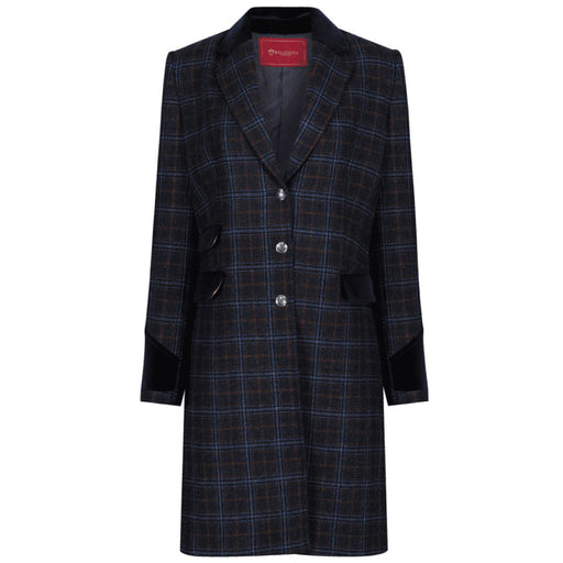 Welligogs Demelza womens wool coat in navy check - RedMillsStore.ie