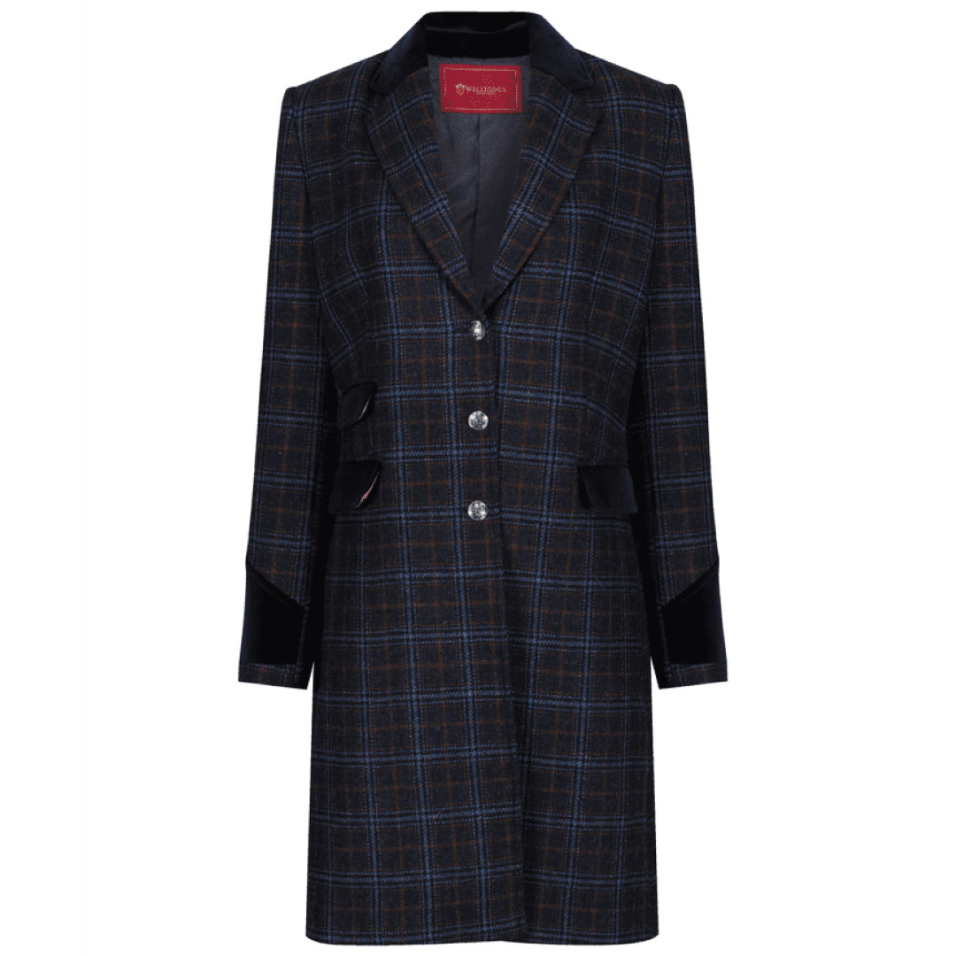 Welligogs Demelza womens wool coat in navy check