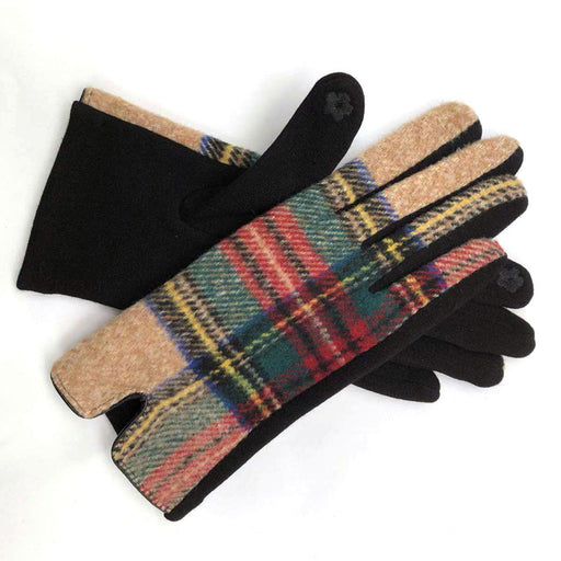Womens cosy check gloves in camel - RedMillsStore.ie