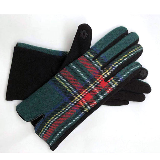 Womens cosy check gloves in forest green - RedMillsStore.ie