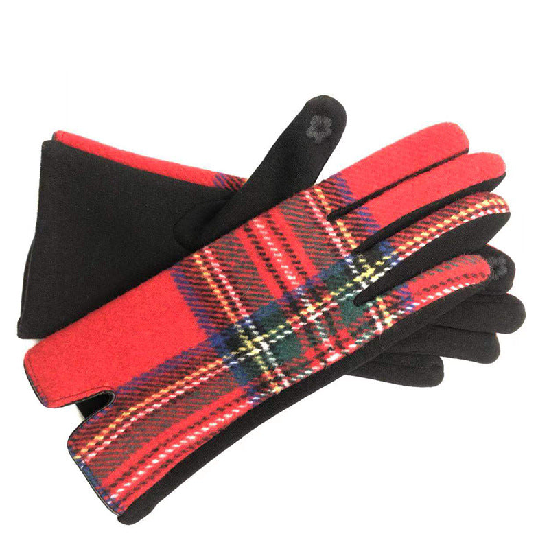 Womens cosy check gloves in red - RedMillsStore.ie
