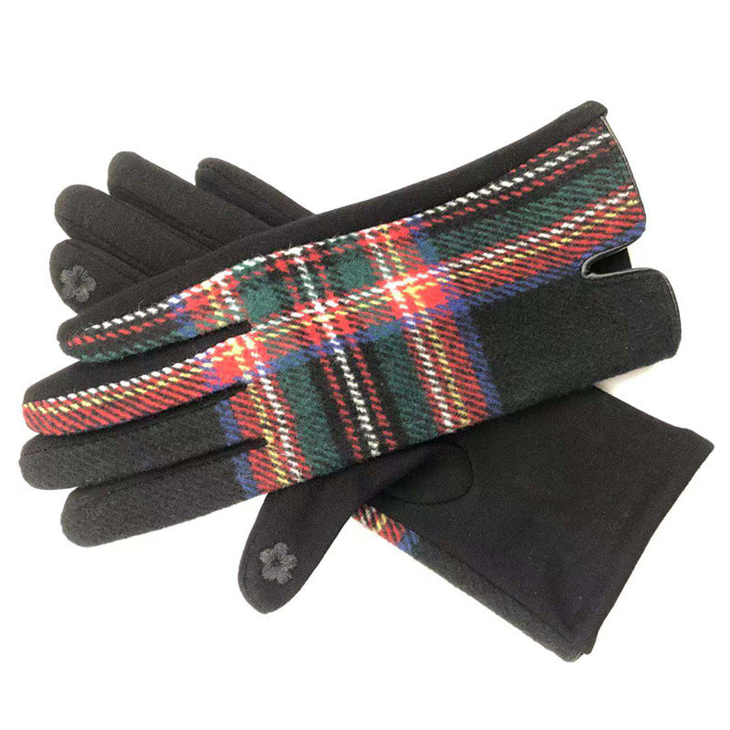Womens cosy check gloves in black - RedMillsStore.ie