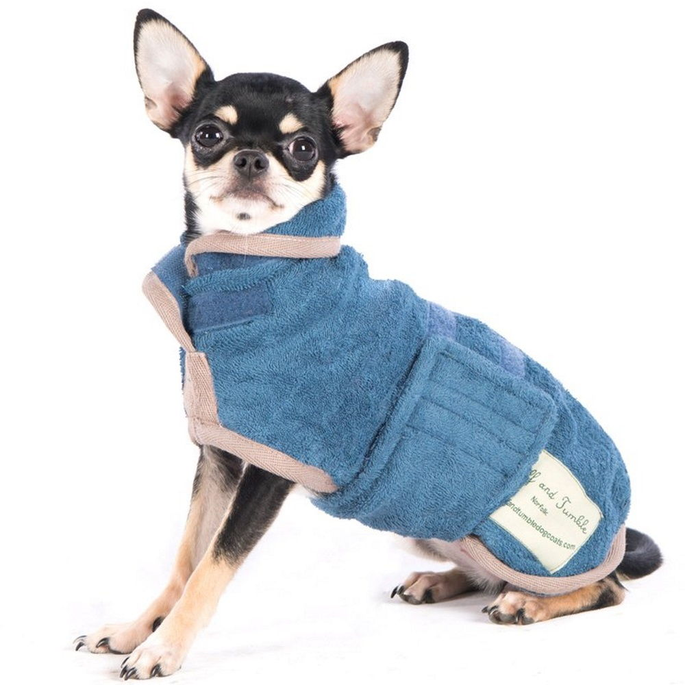 Ruff and Tumble Dog Drying Coat (small breeds) in blue