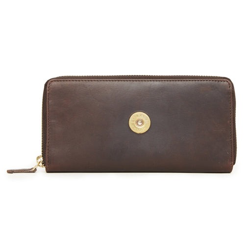 Hicks & Hide 12bore Zip Around Purse Brown Leather - RedMillsStore.ie