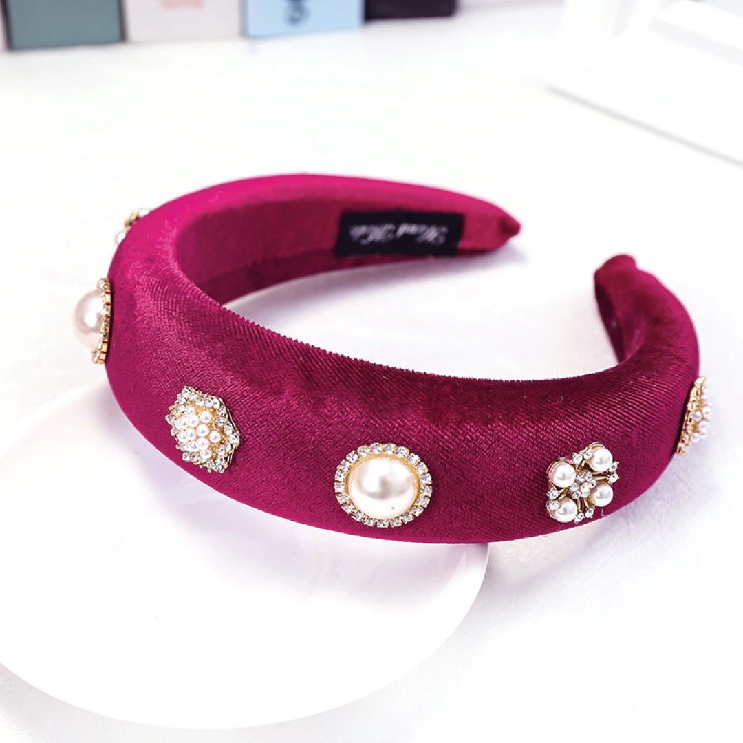 'Andrea' velvet headband with pearls in merlot - RedMillsStore.ie