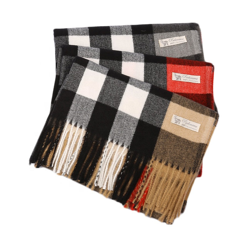 Aobha cashmere feel scarf in Beige check - RedMillsStore.ie
