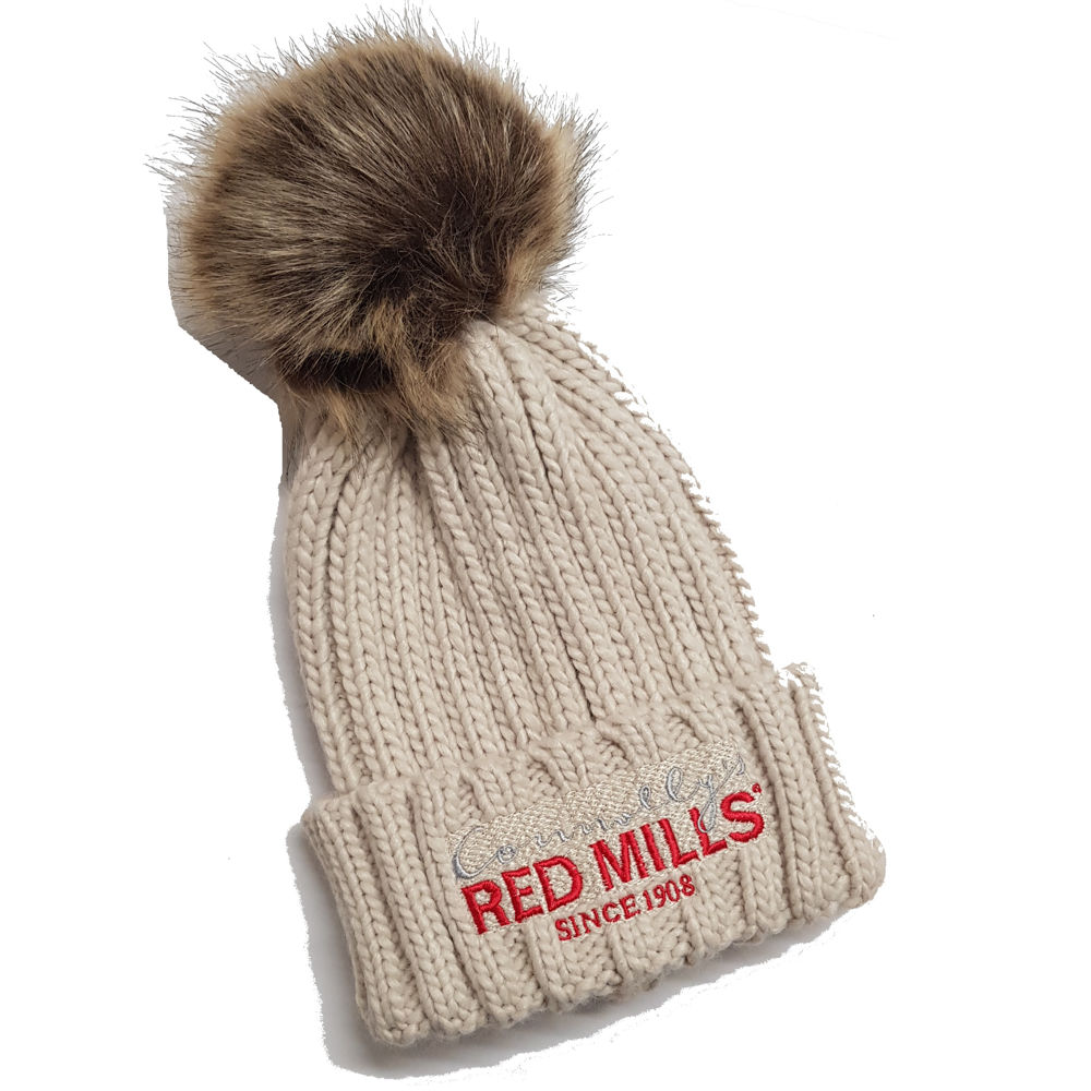 RED MILLS fur pom chunky knit bobble hat in natural