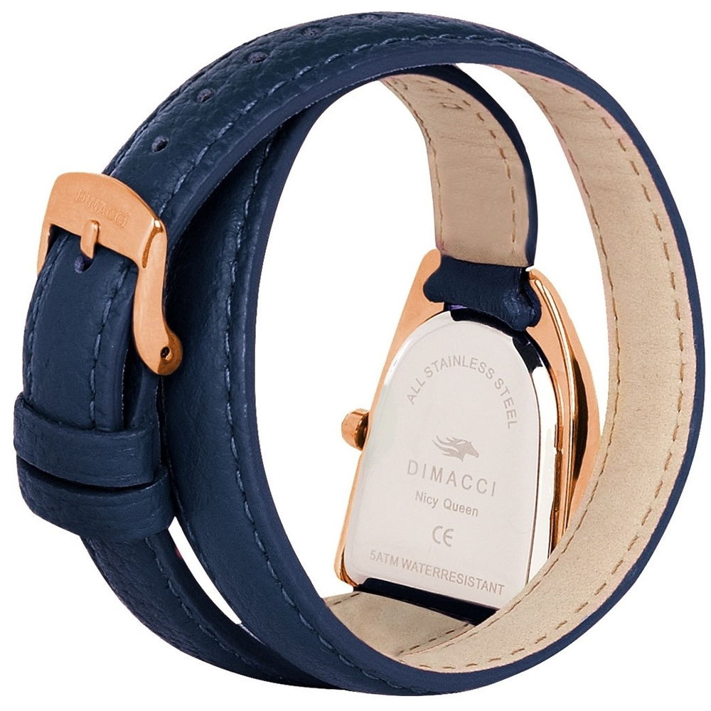 Dimacci Nicy Queen II Watch in navy & rose gold with Swarovski crystals