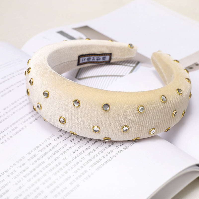 'Charlotte' cream studded velvet headband - RedMillsStore.ie