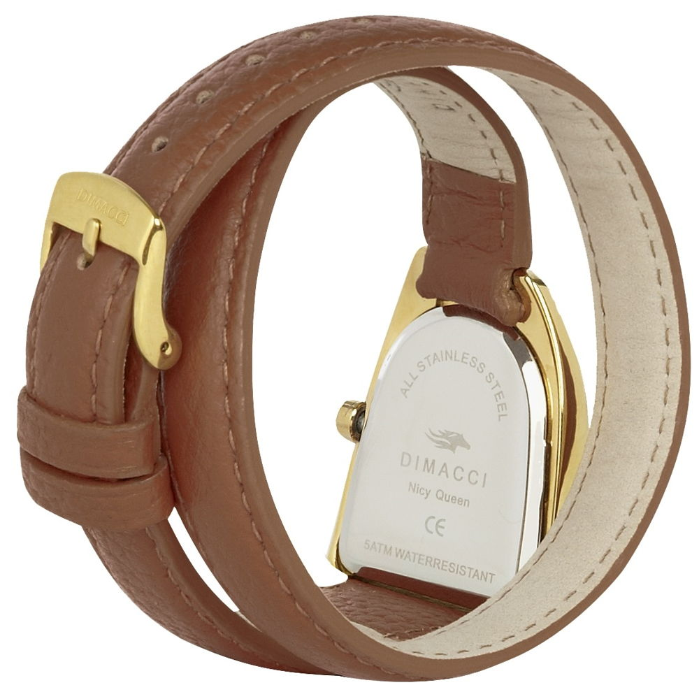 5c84f006f07c6 ... Dimacci Nicy Queen II Watch in tan & gold with Swarovski crystals -  RedMillsStore.ie