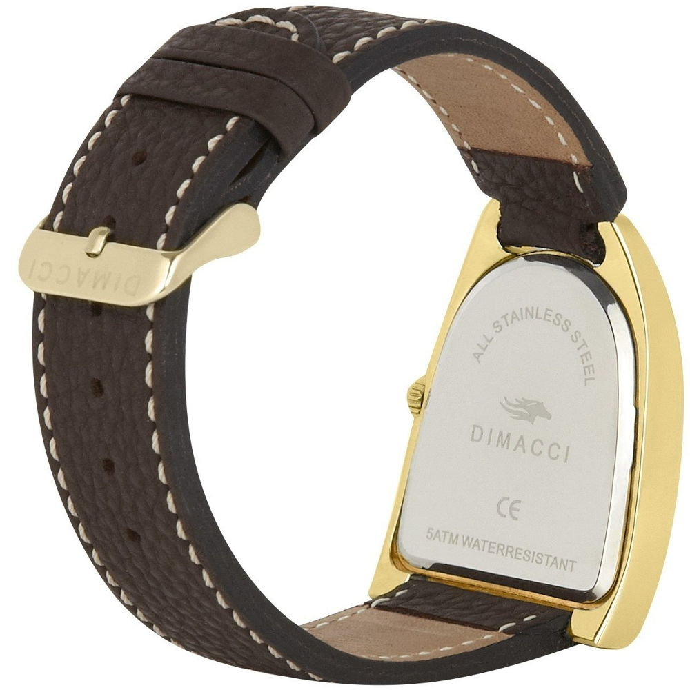 Dimacci Deauville mens leather strap watch - mocha & gold - RedMillsStore.ie