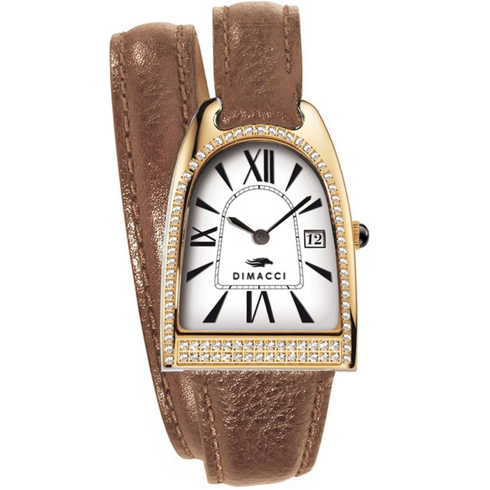 Dimacci Nicy Queen II Watch in tan & gold with Swarovski crystals - RedMillsStore.ie
