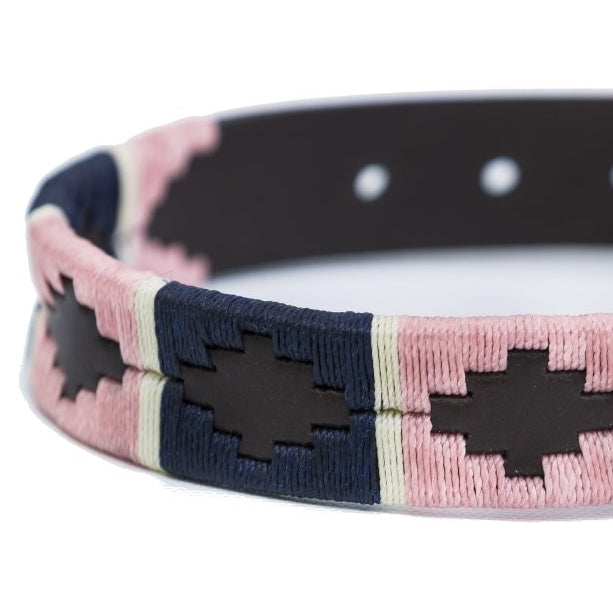 Pioneros leather polo dog collar - navy & pink