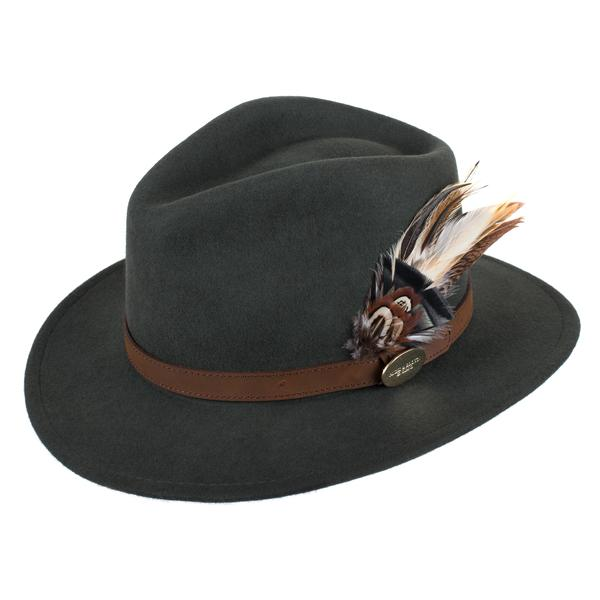 Hicks   Brown  The Suffolk  Fedora in Olive Green (Gamebird Feather ... 408407d78a5