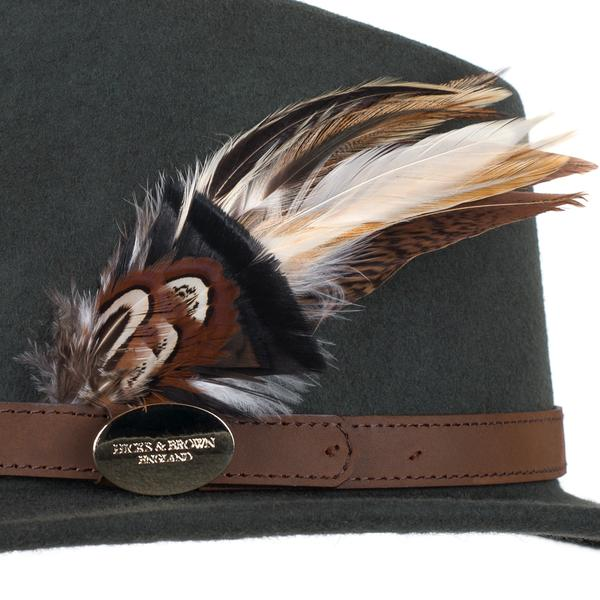 Hicks & Brown 'The Suffolk' Fedora in Olive Green (Gamebird Feather) - RedMillsStore.ie