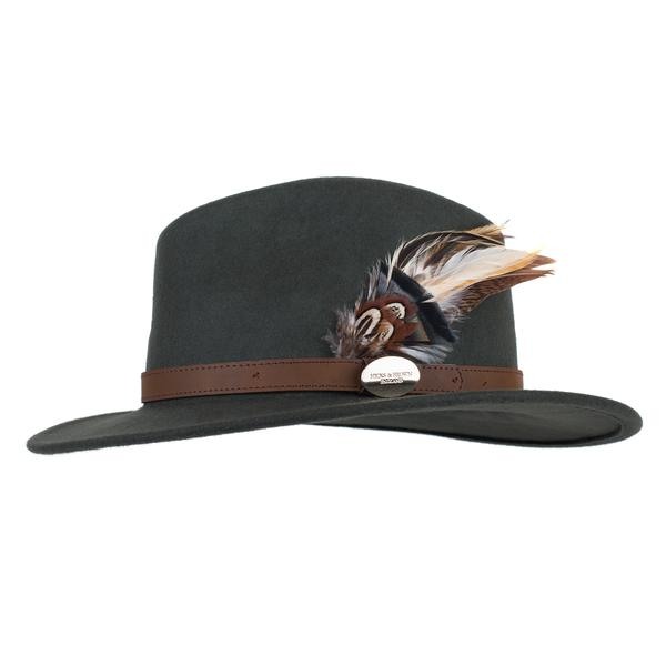 Hicks & Brown 'The Suffolk' Fedora in Olive Green (Gamebird Feather)
