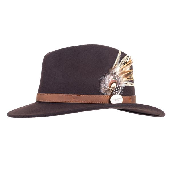 Hicks & Brown 'The Suffolk' Fedora in Brown (Guinea and Pheasant Feather)