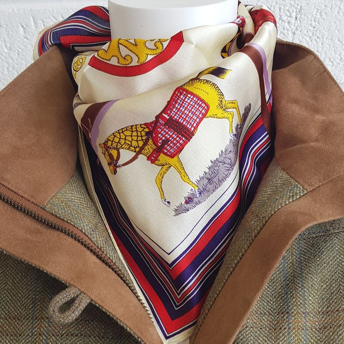 Horse print silk neck scarf in cream - RedMillsStore.ie