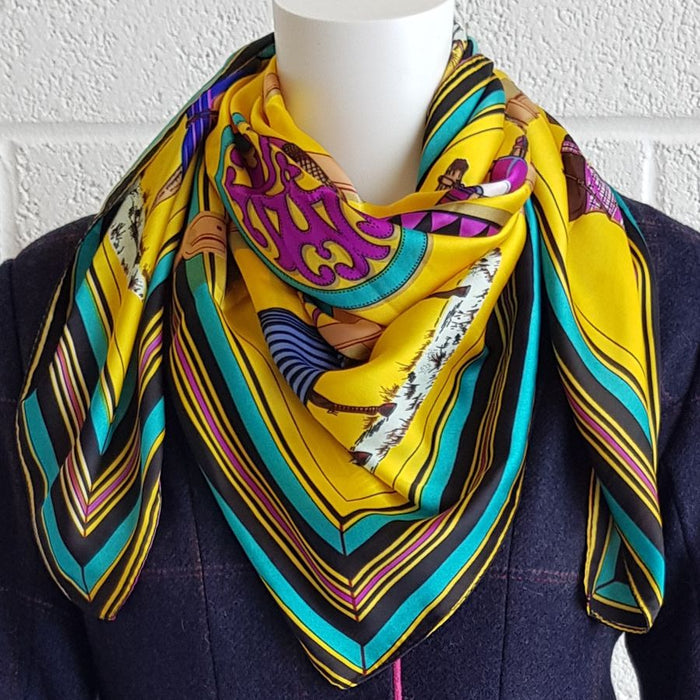 Horse print scarf in yellow - RedMillsStore.ie