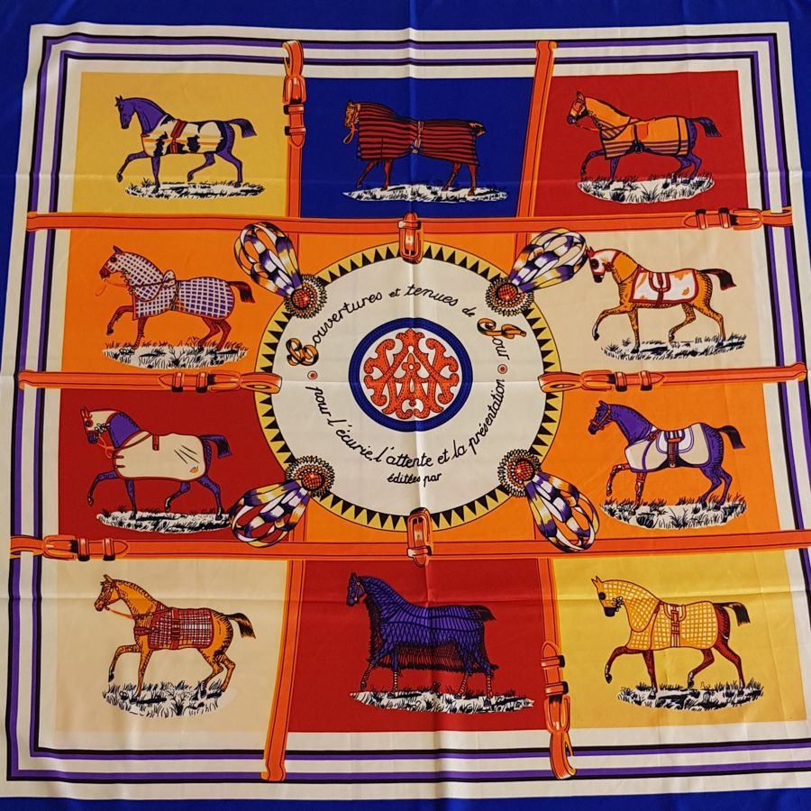 Horse print silk scarf with royal blue trim