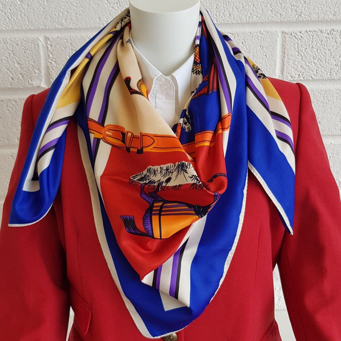 Horse print silk scarf with royal blue trim - RedMillsStore.ie