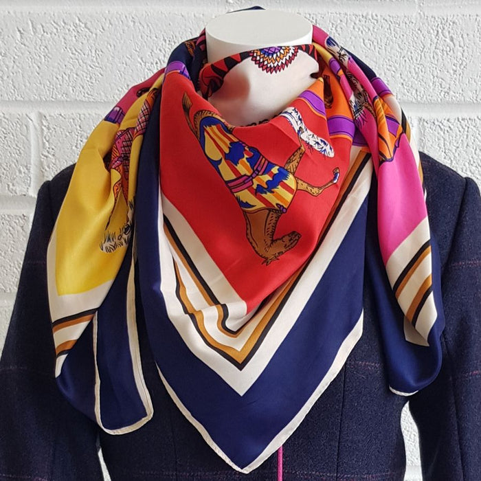 Horse print silk scarf with navy trim - RedMillsStore.ie
